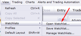 This is an image of how to open Watchlists in Trading Station