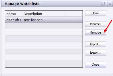 This is an image of how to remove Watchlists in Trading Station.