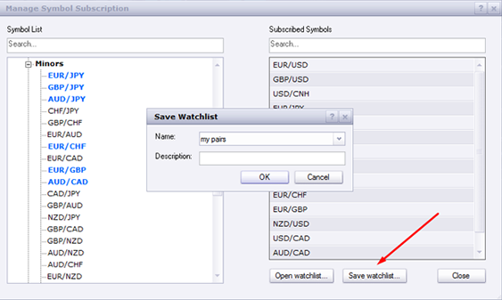 This is an image showing how to save a watchlist from the manage symbol subscription window
