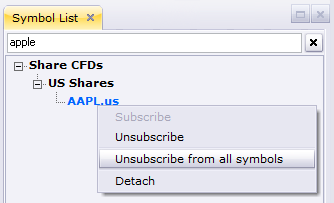 This is an image of the symbols list right click menu, which allows users to Unsubscribe from all symbols at once